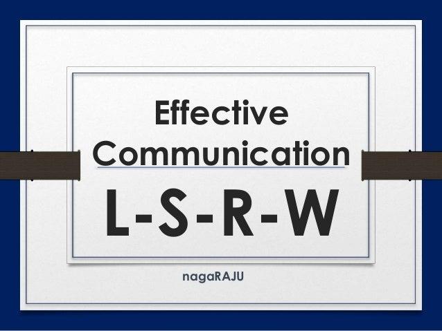 Effective Communication - LSRWVG