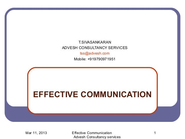 Effective Communication Powerpoint Effective Communication