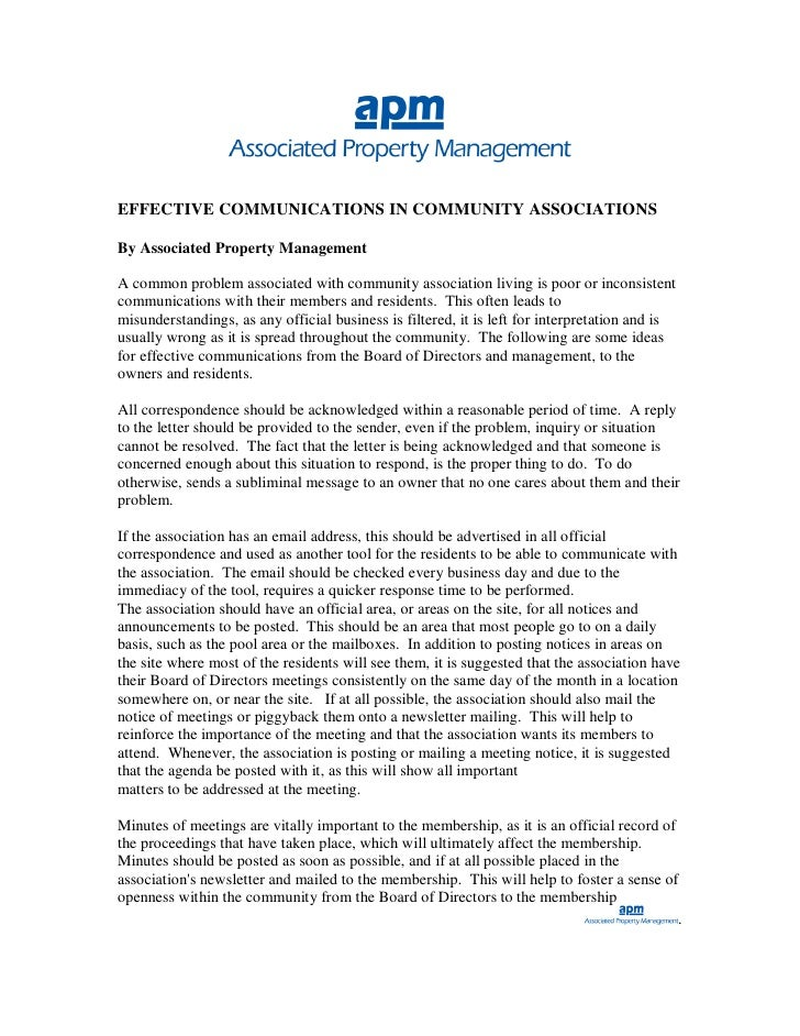 EFFECTIVE COMMUNICATIONS IN COMMUNITY ASSOCIATIONS  By Associated Property Management  A common problem associated with co...