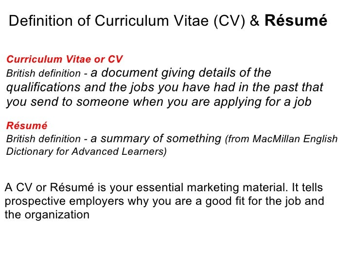 meaning of resume cv