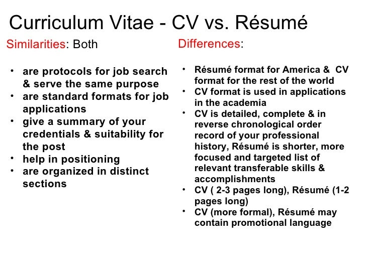 is a cv the same as a resumes