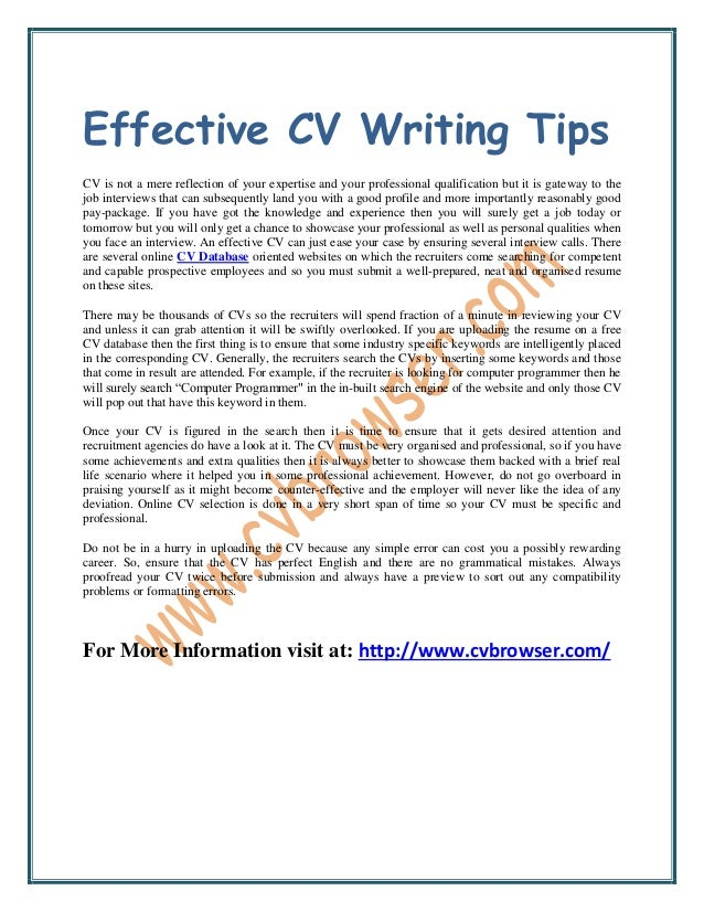 CV quick reference flow diagram
