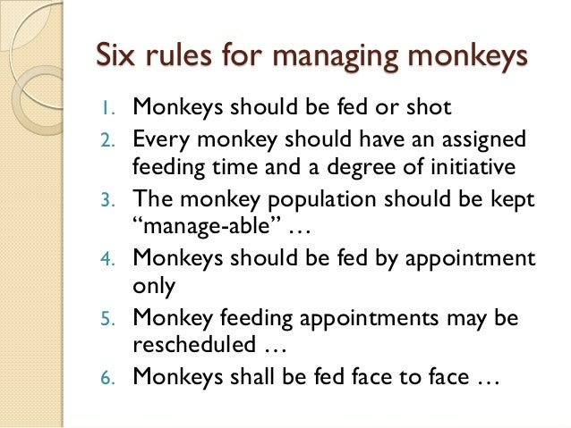 one minute manager meets the monkey essay The one minute manager a review of the one minute manager meets the monkey this 4 page essay reviews the 1991 book by kenneth blanchard, william oncken, jr and hal burrows.