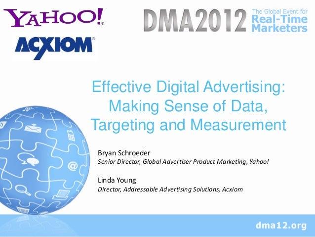Effective Digital Advertising:   Making Sense of Data,Targeting and Measurement Bryan Schroeder Senior Director, Global Ad...