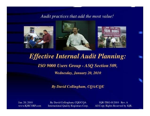 Effective internal audit planning