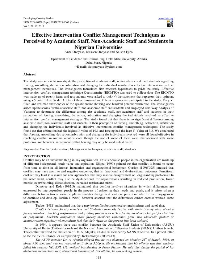 Effective intervention conflict management techniques as perceived by academic staff, non academic staff and students in nigerian universities