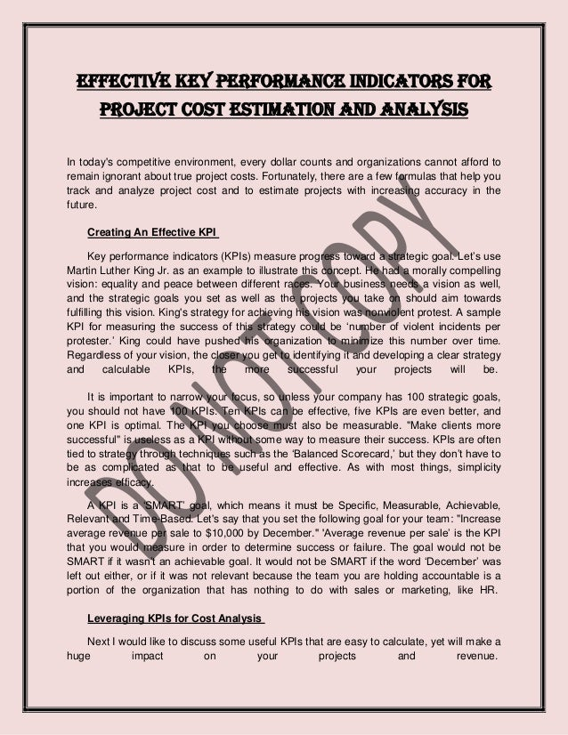 Effective key performance indicators for project cost estimation and analysis