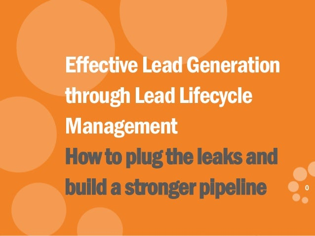 0 eDynamic, Friday, May 9, 2014 0 EffectiveLeadGeneration throughLeadLifecycle Management Howtoplugtheleaksand buildastron...