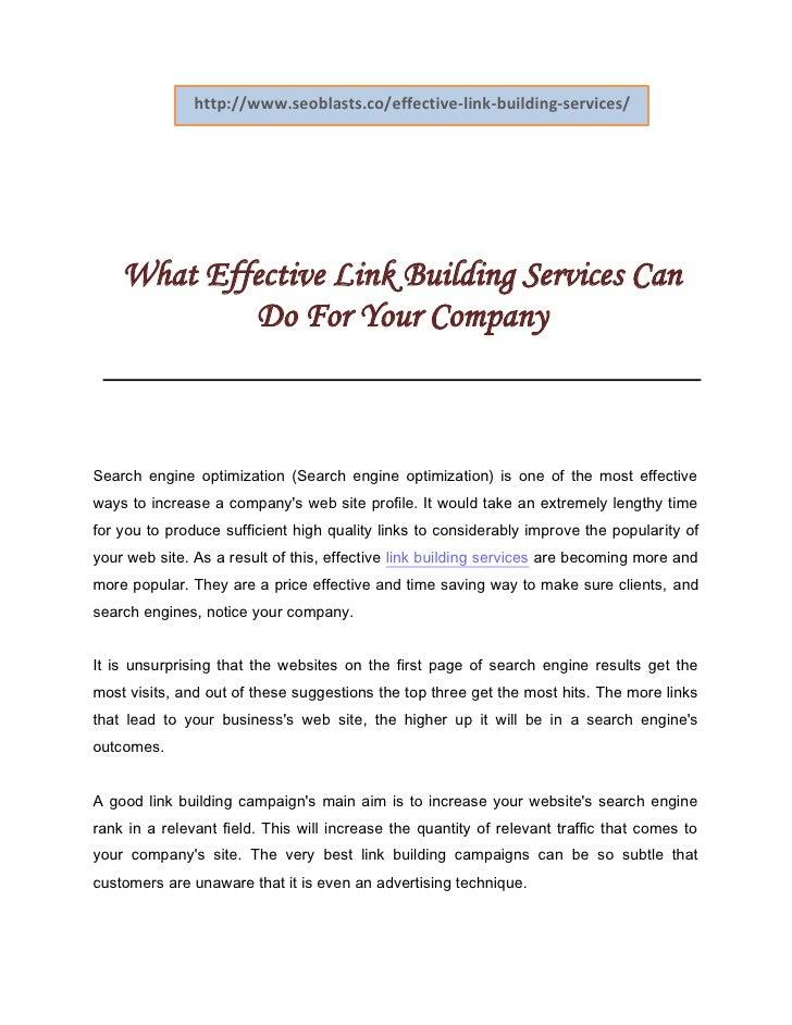 Effective link building services