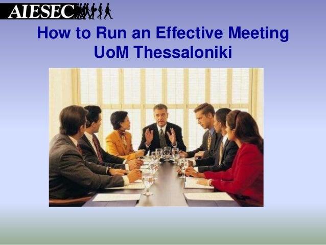How to Run an Effective Meeting UoM Thessaloniki