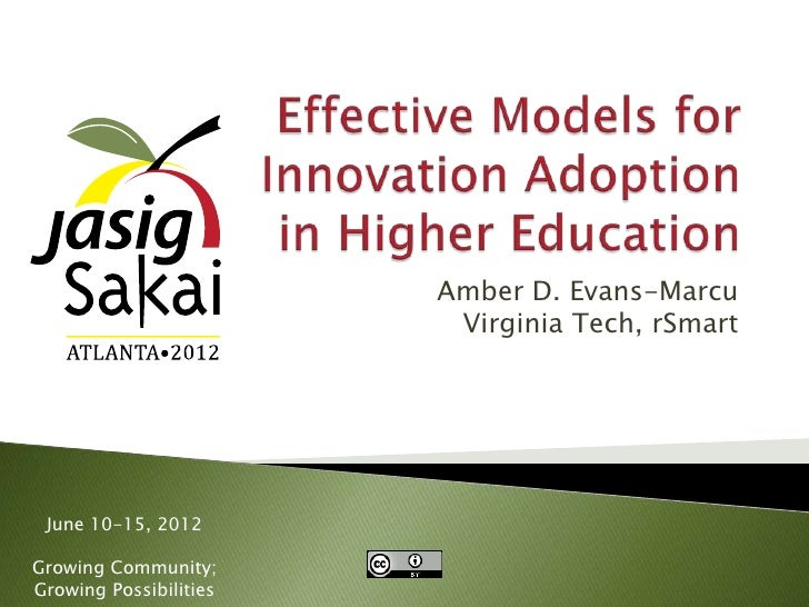 Effective models of Innovation Adoption in Higher Education
