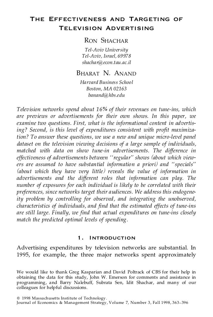 The Effectiveness and Targeting of            Television Advertising                                 RON SHACHAR          ...
