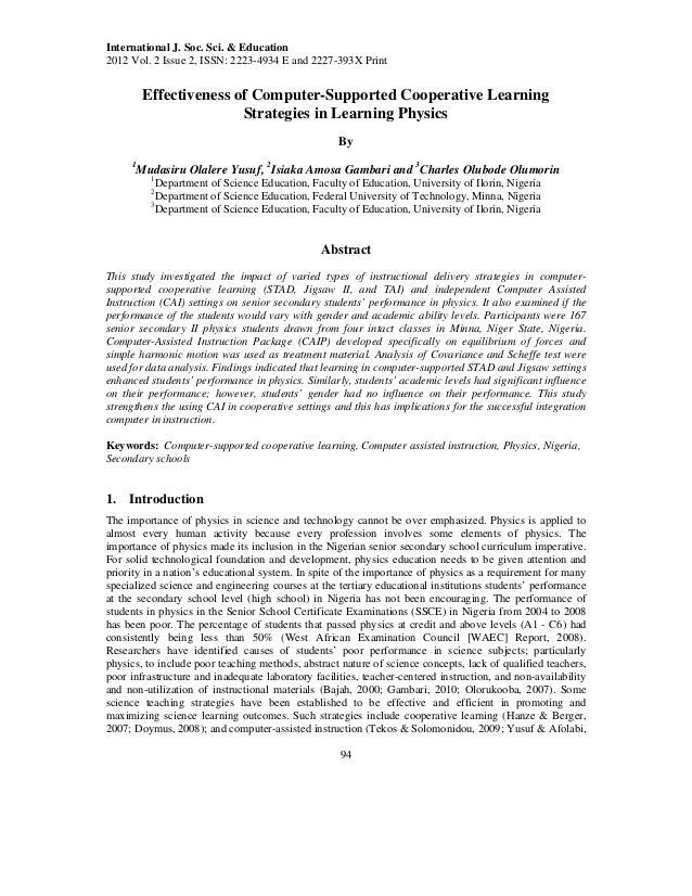 Effectiveness of computer supported cooperative learning