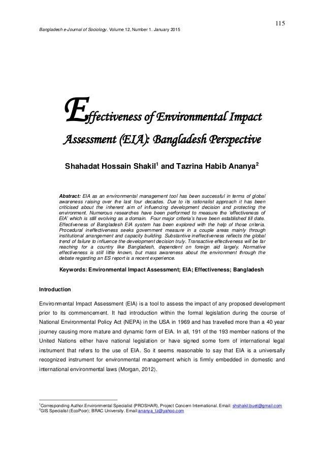 Effectiveness of Environmental Impact Assessment (EIA):  Bangladesh Perspective