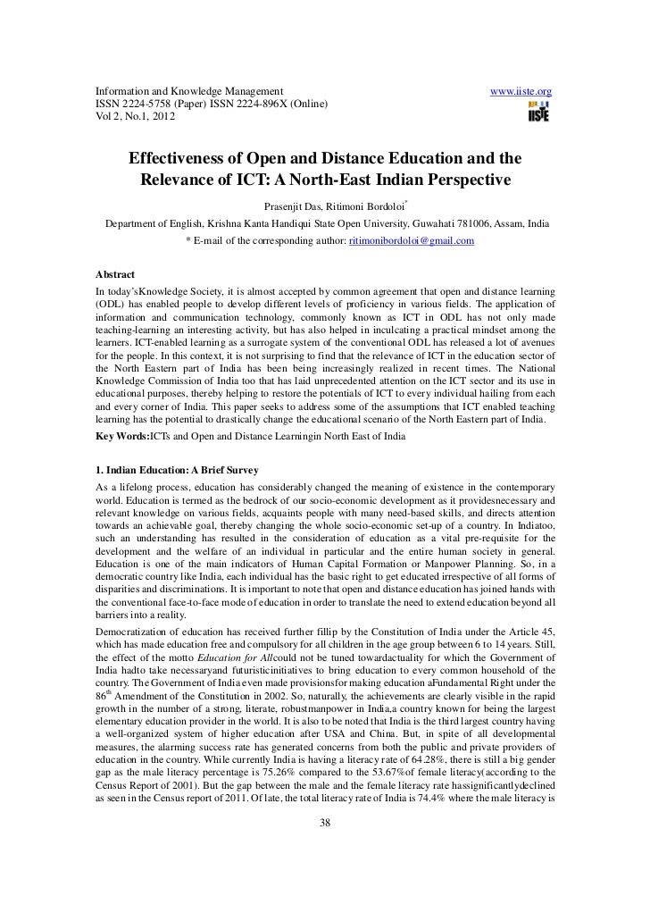 Effectiveness of open and distance education and the relevance of ict
