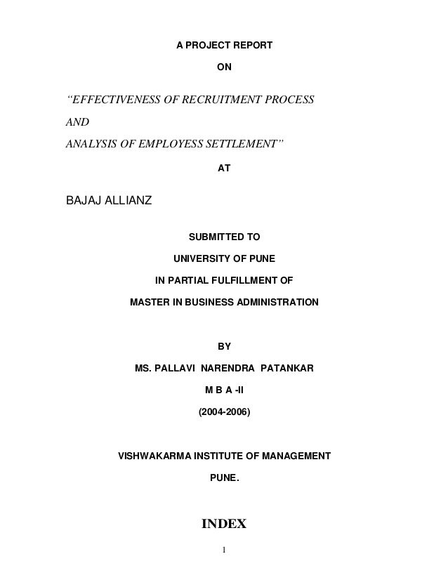 Effectiveness of recruitment process and analysis of employess settlement