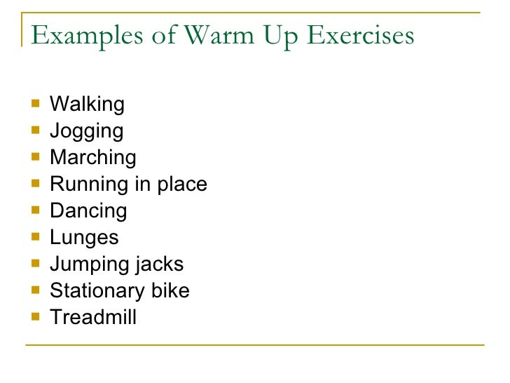 Effectiveness of warm up exercises