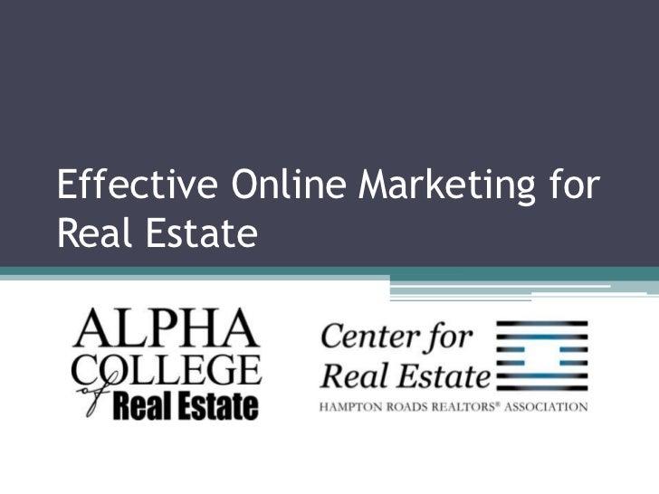 Effective Online Marketing for Real Estate<br />