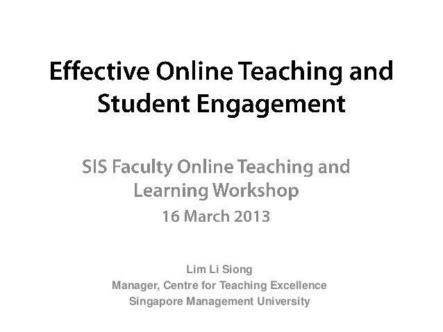 Lim Li SiongManager, Centre for Teaching Excellence  Singapore Management University