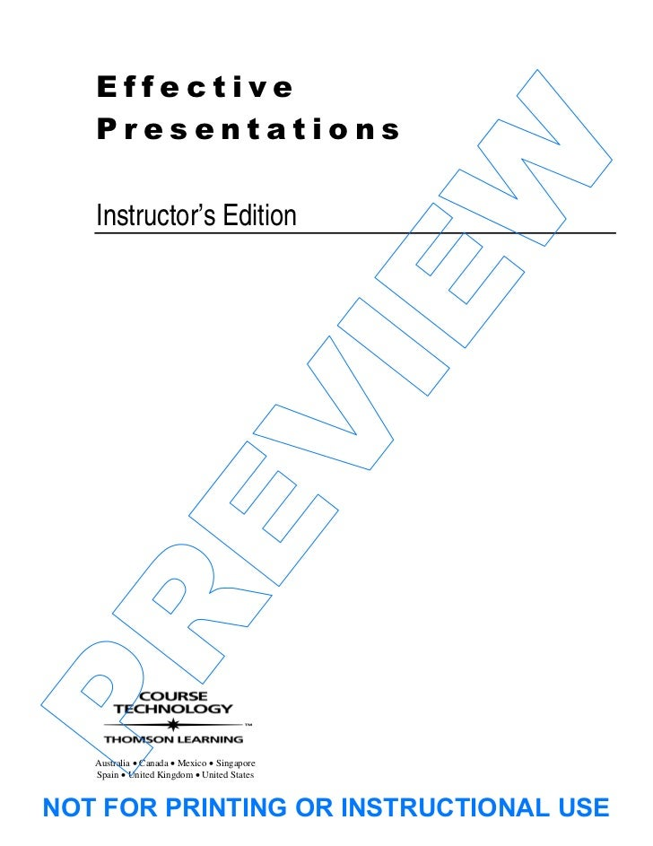Effective   Presentations                                             W   Instructor's Edition                            ...