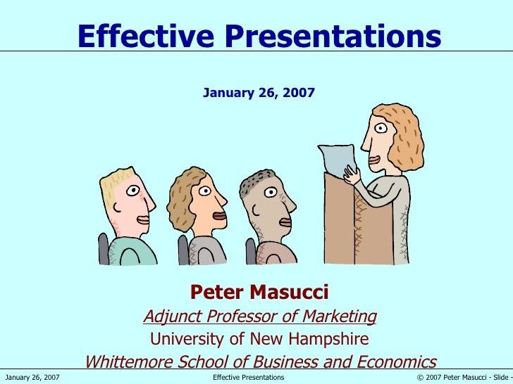 Peter Masucci Adjunct Professor of Marketing University of New Hampshire Whittemore School of Business and Economics Effec...