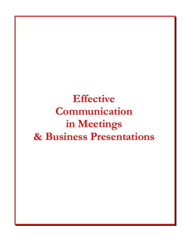Effective Communication in Meetings & Business Presentations
