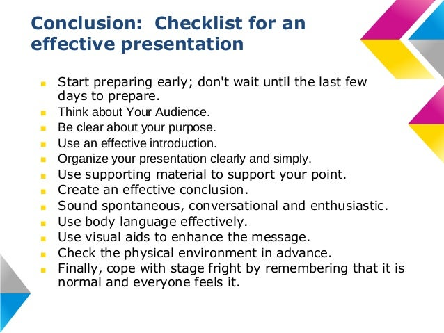 how to write a good conclusion of presentation