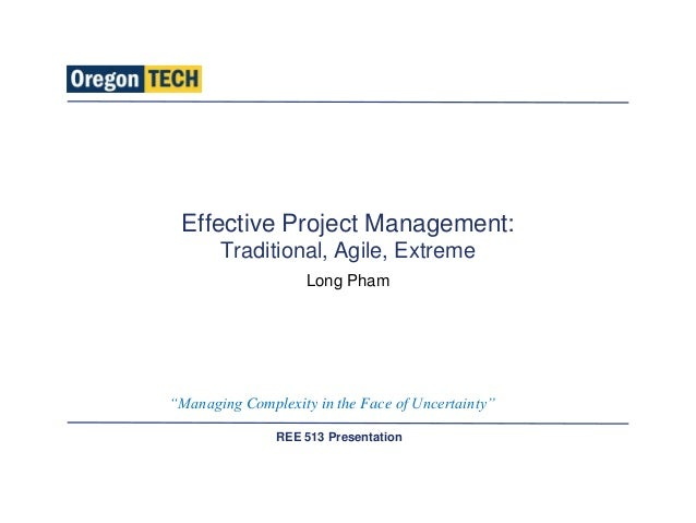 Effective project management traditional agile extreme for Agile project management vs traditional project management