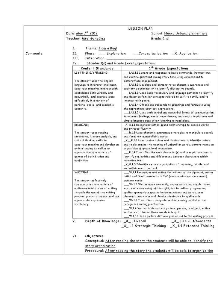 LESSON PLAN                         th            Date: May 7 2012                                      School: Nueva Urba...
