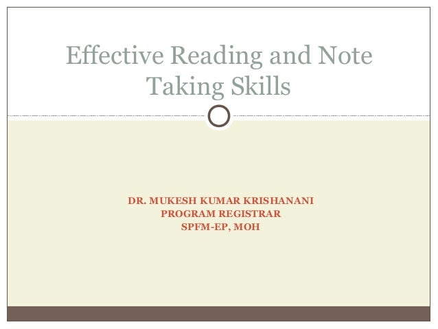 Effective reading skills