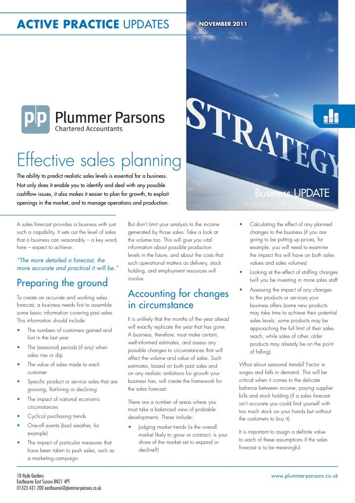 Plummer Parsons Chartered Accountants Effective Sales Planning November 2011