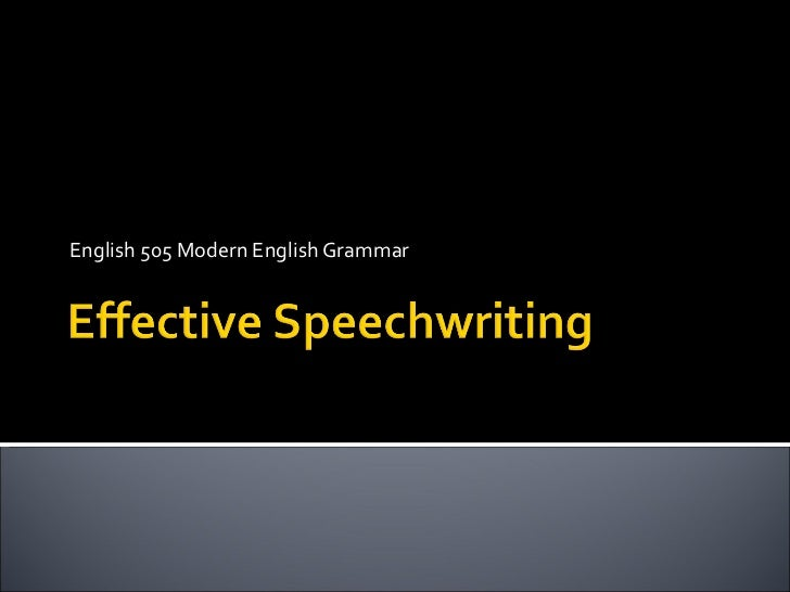 Effective Speechwriting