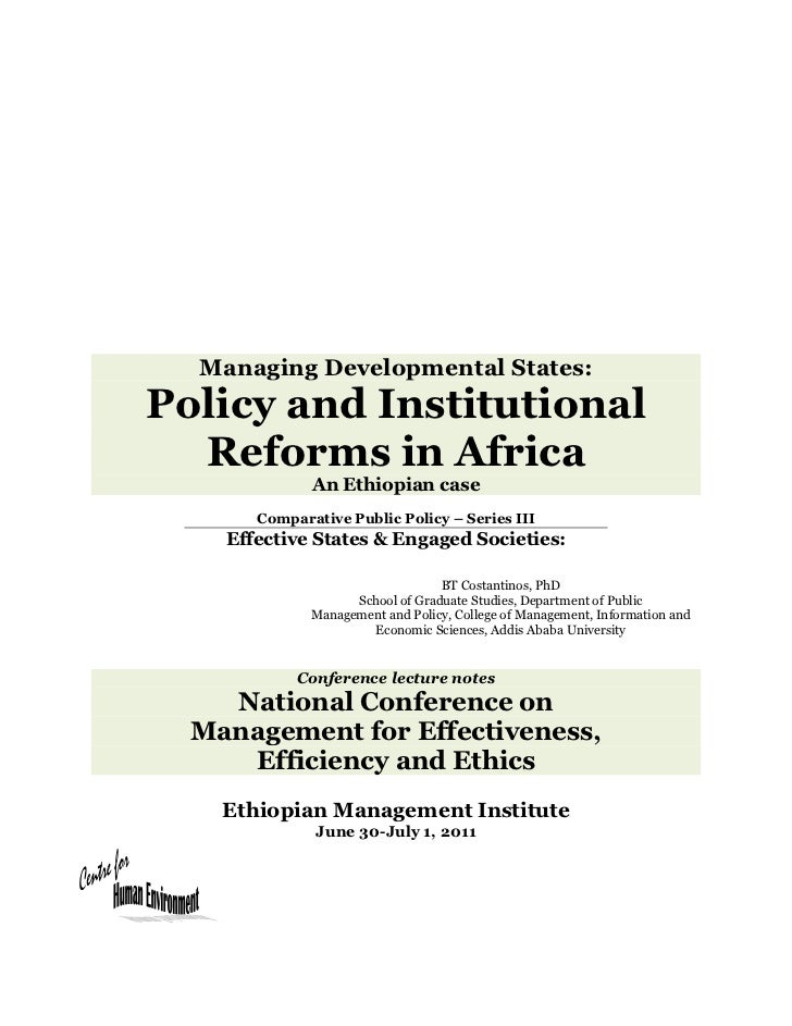 Effective states & engaged societies   the nature of statal policy and institutional reform