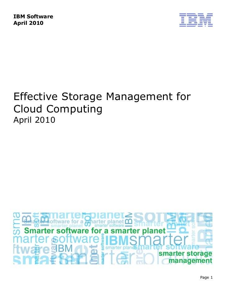 Effective storagemanagementforcloudcomputing