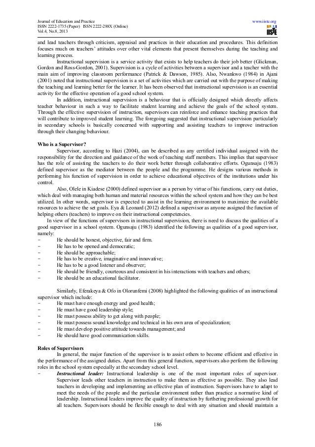 Dissertation on clinical supervision for secondary schools