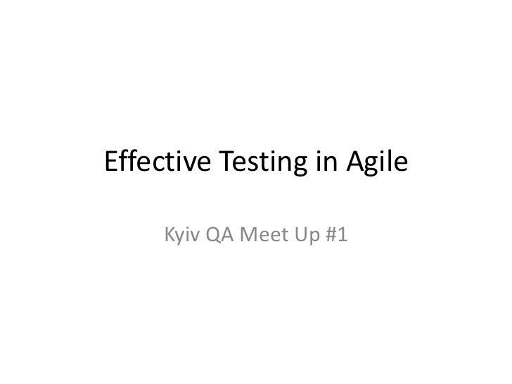 Effective Testing in Agile