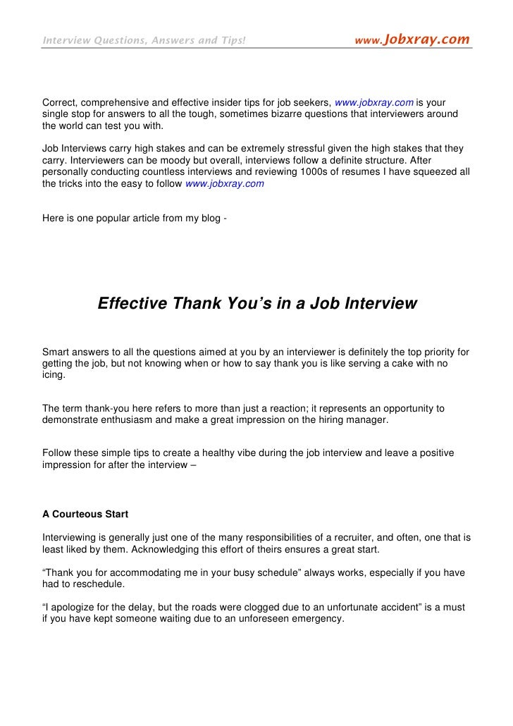 effective thank you u0026 39 s in a job interview  from  jobxray