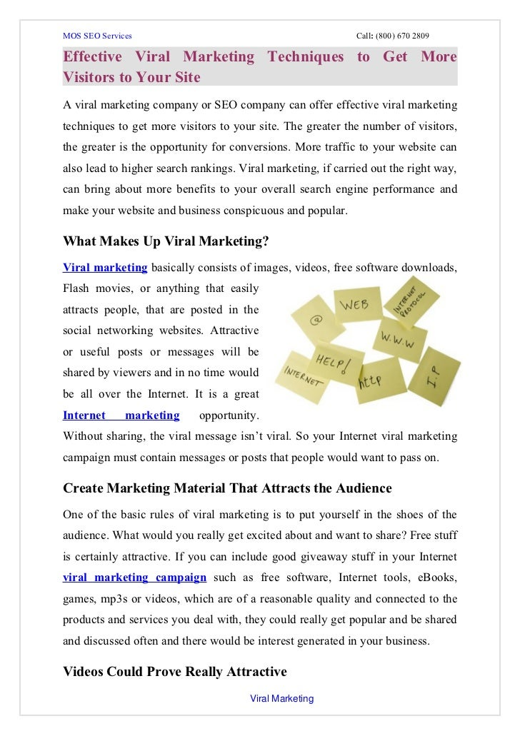Effective viral marketing techniques to get more visitors to your site
