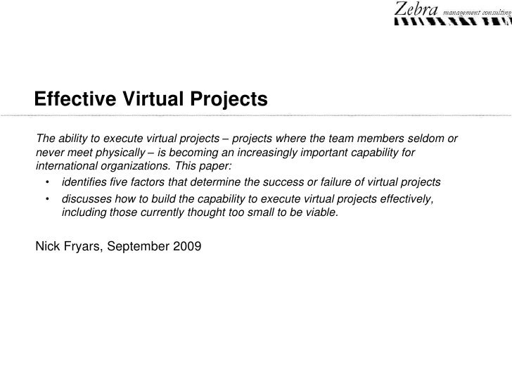 Effective Virtual Projects