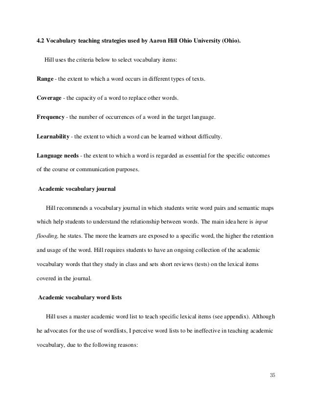 thesis on vocabulary teaching strategies Teaching writing for students with learning disabilities in an inclusive classroom setting: a curriculum teaching strategies, educative vocabulary, and.