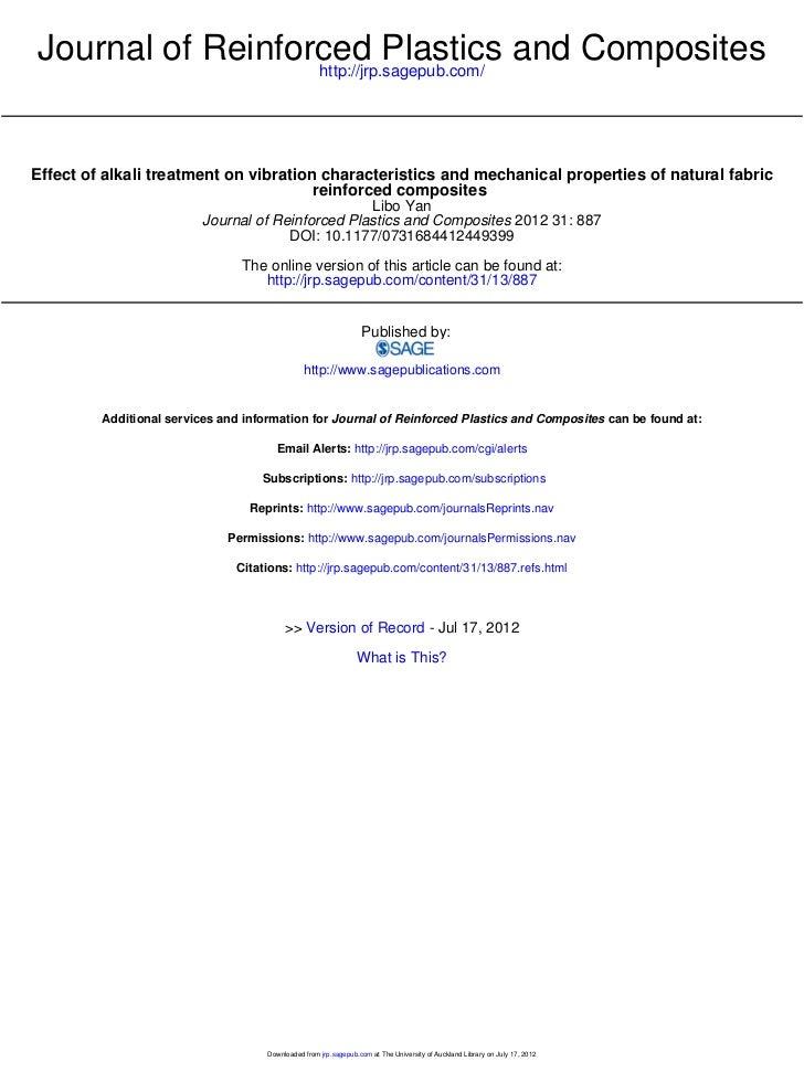 Journal of Reinforced Plastics and Composites                  http://jrp.sagepub.com/Effect of alkali treatment on vibrat...