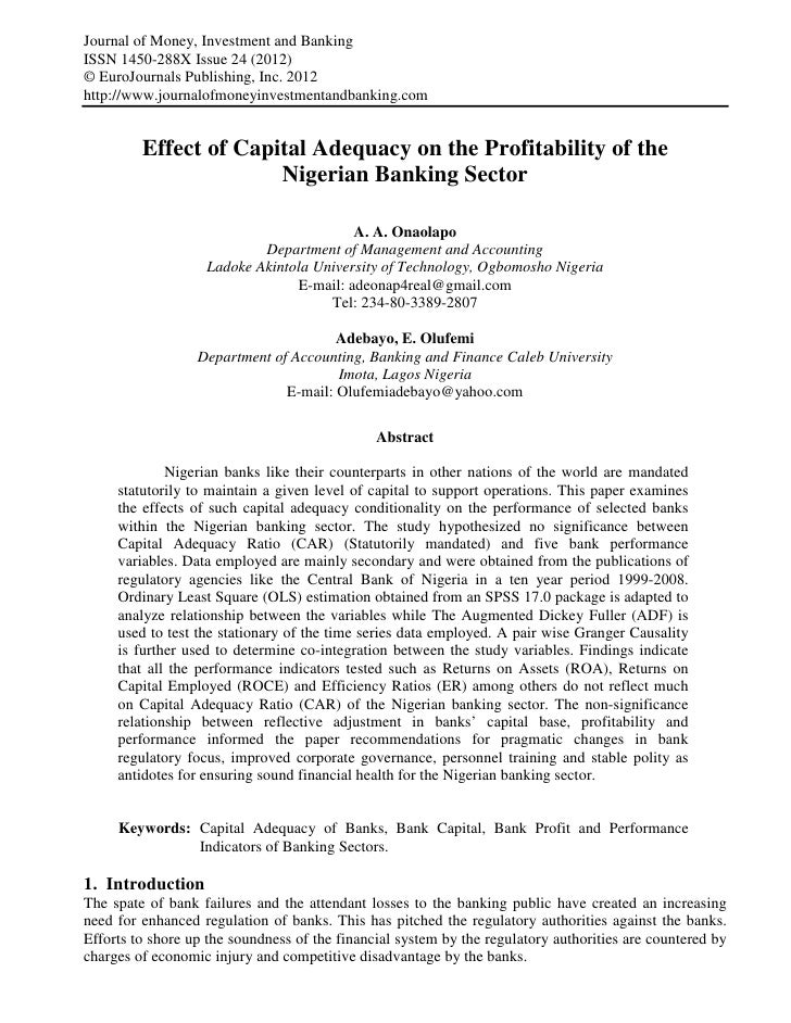 Effect of capital adequacy on the profitability of the