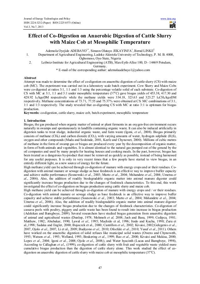 Effect of co digestion on anaerobic digestion of cattle slurry with maize cob at mesophilic temperature