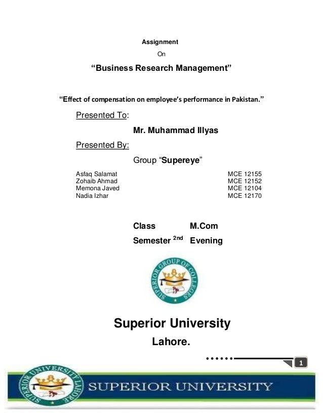"""Assignment                              On         """"Business Research Management""""""""Effect of compensation on employee's per..."""