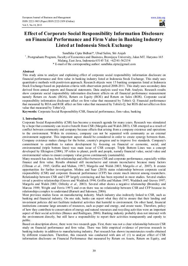 Effect of corporate social responsibility information disclosure on financial performance and firm value in banking industry listed at indonesia stock exchange