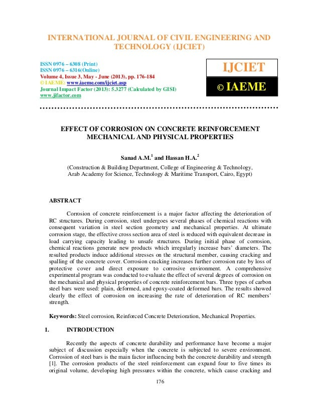 Effect of corrosion on concrete reinforcement mechanical and physical 2