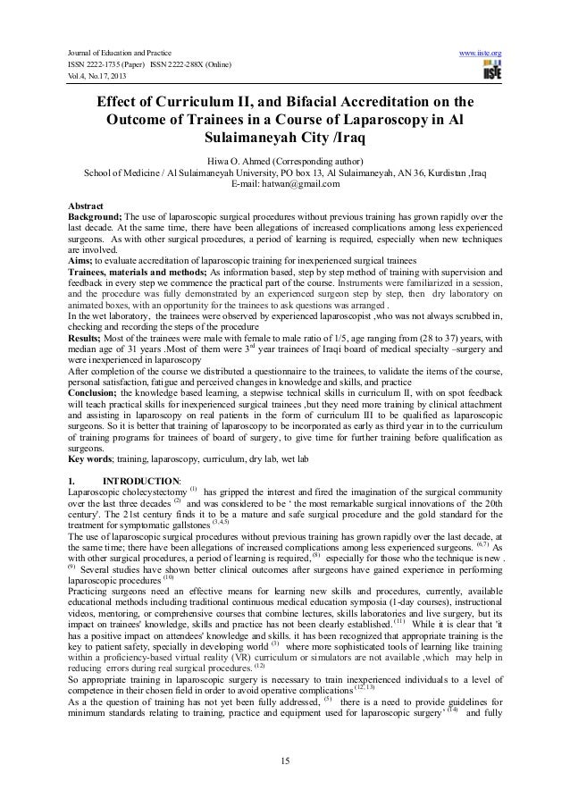 Effect of curriculum ii, and bifacial accreditation on the outcome of trainees in a course of laparoscopy in al sulaimaneyah city iraq