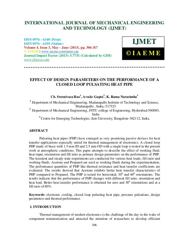 Effect of design parameters on the performance of a closed loop pulsating
