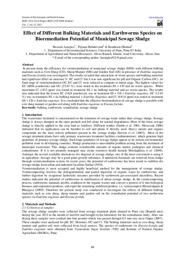 Effect of different bulking materials and earthworms species on bioremediation potential of municipal sewage sludge