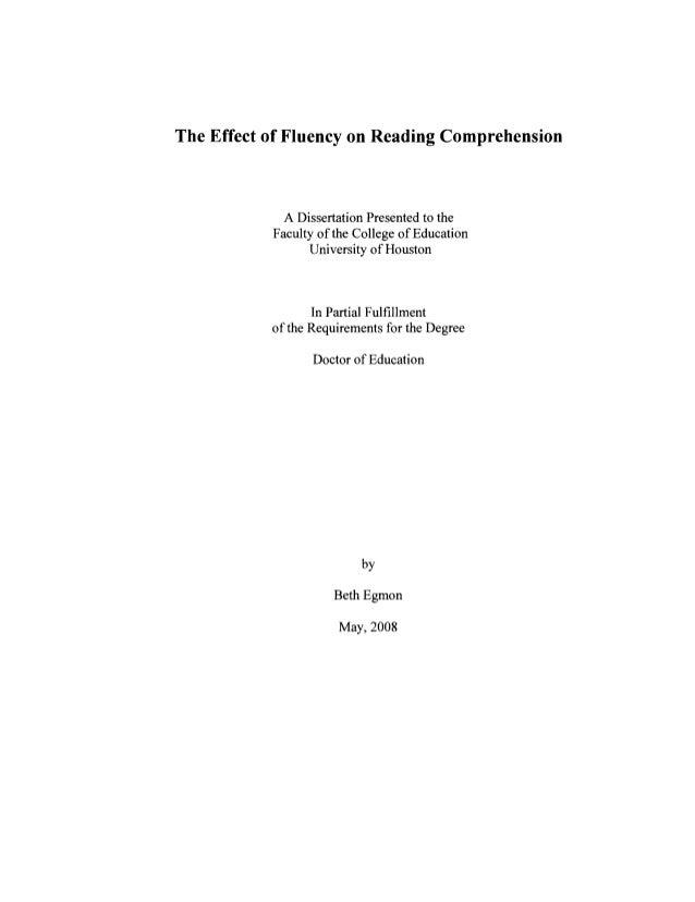 Dissertation reading comprehension